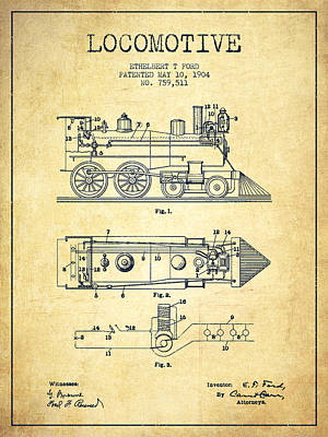 Train Drawing - Vintage Locomotive Patent From 1904 - Vintage by Aged Pixel