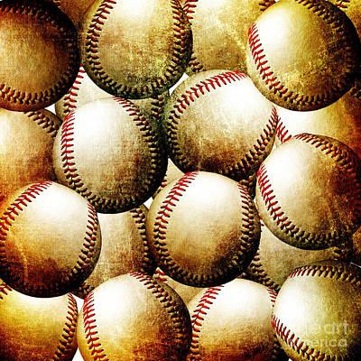 Vintage Look Baseballs Print by Andee Design