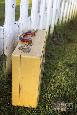 Rights Manages Images Photograph - Vintage Luggage Left By A White Picket Fence by Edward Fielding