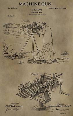 Vintage Machine Gun Patent Print by Dan Sproul