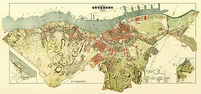Sweden Drawing - Vintage Map Of Gothenburg Sweden 1888 by Mountain Dreams