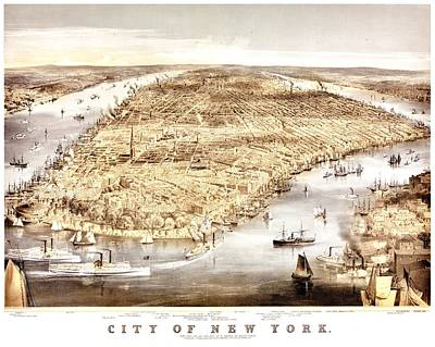 Vintage Map Of The City Of New York Print by Benjamin Yeager