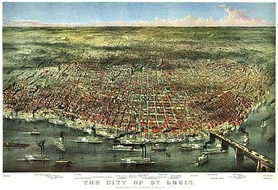 Vintage Map Of The City Of St Louis Print by Benjamin Yeager