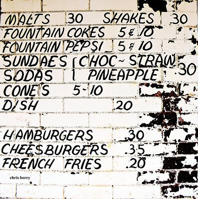 Vintage Menu On Brick Print by Chris Berry