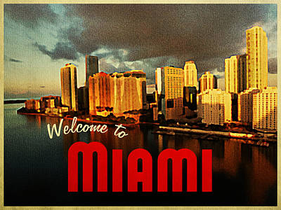 Miami Skyline Digital Art - Vintage Miami Florida Skyline by Flo Karp