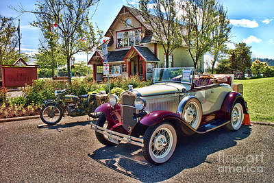 Purple Car Photograph - Vintage Model A Ford With Motorcyle by David Smith