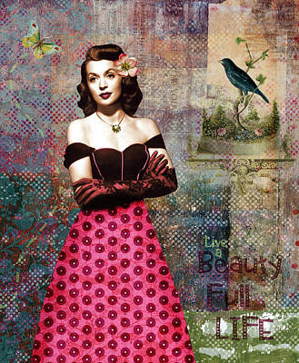 Vintage Movie Star Beauty Full Life Print by Cat Whipple