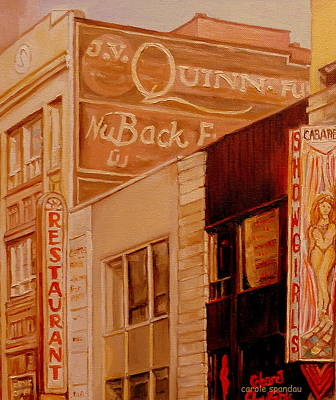 Montreal Buildings Painting - Vintage Mural Sign-downtown Montreal-marquees Art by Carole Spandau