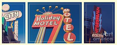Vintage Neon Signs Trio Print by Edward Fielding