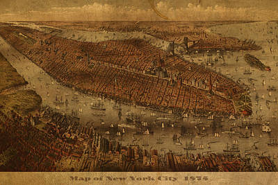 Nyc Mixed Media - Vintage New York City Manhattan Nyc In 1875 City Map On Worn Canvas by Design Turnpike