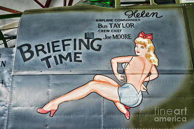 B25 Photograph - Vintage Nose Art Briefing Time by Paul Ward