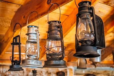 Glass Wall Digital Art - Vintage Oil Lanterns by Paul Freidlund