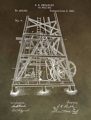 Crisis Mixed Media - Vintage Oil Well Rig Patent by Dan Sproul