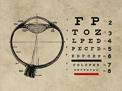 Chart Digital Art - Vintage Ophthalmologist Eye Chart by Flo Karp