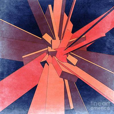 Abstract Digital Art - Vintage Orange Rectangles by Phil Perkins