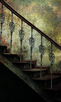 Vintage Ornamented Stairs And Dirty Wall Print by Jaroslaw Blaminsky
