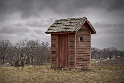 Vintage Outhouse Behind A Historical Country School In Southwest Michigan Print by Randall Nyhof