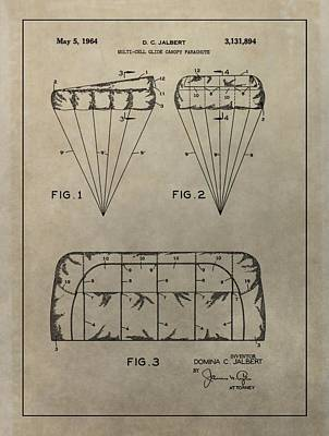 Drag Mixed Media - Vintage Parachute Patent by Dan Sproul