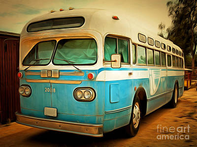 Greyhound Photograph - Vintage Passenger Bus 5d28394brun by Wingsdomain Art and Photography