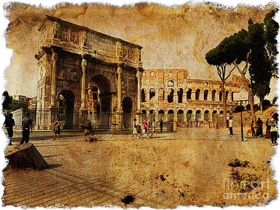 Vintage Photo Of Coliseum Print by Stefano Senise