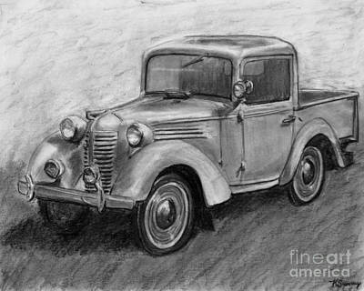 Restoration Drawing - Vintage Pick Up Truck American Bantam by Kate Sumners