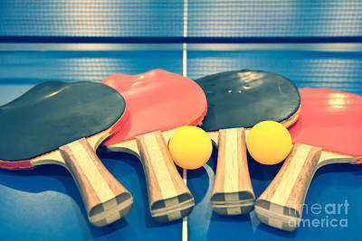 Vintage Ping-pong Bats Table Tennis Paddles Rackets Print by Beverly Claire Kaiya