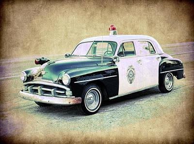 Vintage Plymouth Cop Car Print by Steve McKinzie