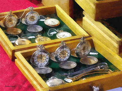 Watch Photograph - Vintage Pocket Watches For Sale by Susan Savad