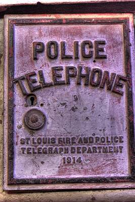 Antique Telephone Photograph - Vintage Police Telephone Box by Jane Linders