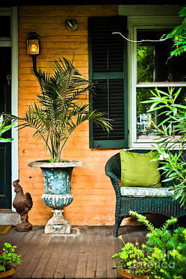 Window Bench Photograph - Vintage Porch by Colleen Kammerer