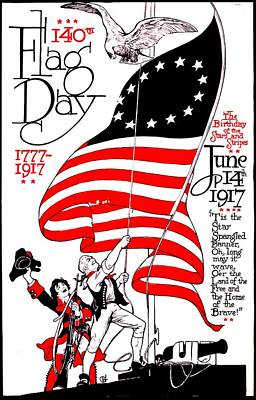 Vintage Poster - America - Flag Day 1917 Print by Benjamin Yeager