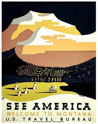 Vintage Poster - Montana Print by Benjamin Yeager