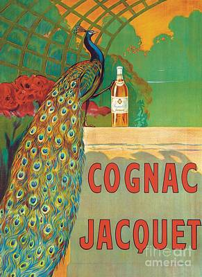 Peacock Painting - Vintage Poster Advertising Cognac by Camille Bouchet