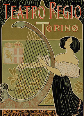 Leaf Drawing - Vintage Poster Advertising The Theater Royal Turin by Italian School