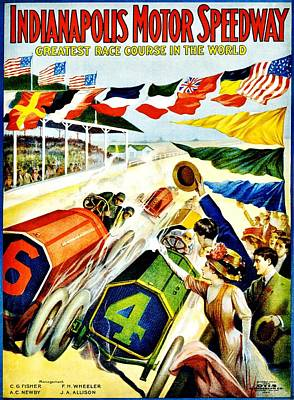 Indy Car Photograph - Vintage Poster - Sports - Indy 500 by Benjamin Yeager