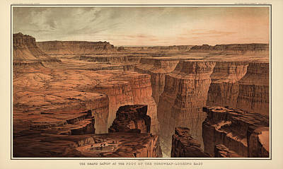 Grand Canyon Drawing - Vintage Print Of The Grand Canyon By William Henry Holmes - 1882 by Blue Monocle