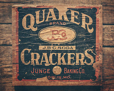 Vintage Quaker Crackers For The Kitchen Print by Lisa Russo