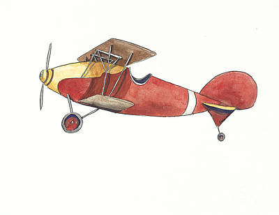 Vintage Red And Yellow Airplane Original by Annie Laurie