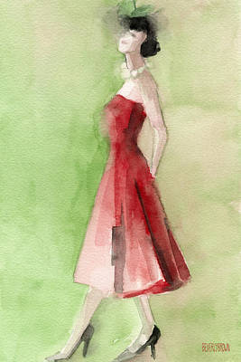 Vintage Red Cocktail Dress Fashion Illustration Art Print Print by Beverly Brown