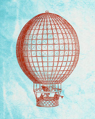 Vintage Red Hot-air Balloon Print by World Art Prints And Designs