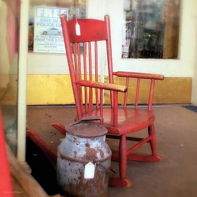 Old Milk Jugs Photograph - Vintage Red Rocker by Melissa Bittinger