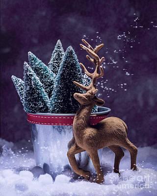 Vintage Reindeer Print by Amanda Elwell