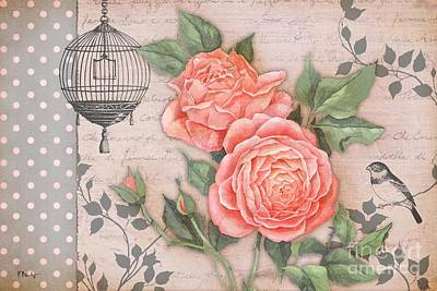 Vintage Rose Collage Print by Paul Brent