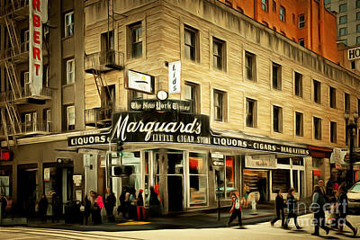 San Francisco Financial District Digital Art - Vintage San Francisco Marquards Little Cigar Store Powell Street 5d17950brun by Wingsdomain Art and Photography