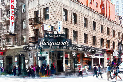 San Francisco Financial District Digital Art - Vintage San Francisco Marquards Little Cigar Store Powell Street 5d17950wcstyle by Wingsdomain Art and Photography