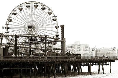 Vintage Santa Monica Pier Print by John Rizzuto