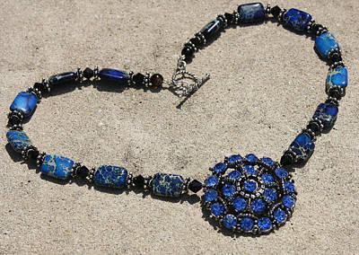 Vintage Sapphire Rhinestone Brooch Pendant Necklace 3635n Original by Teresa Mucha