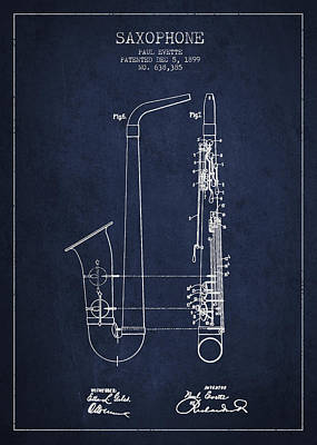 Saxophone Patent Drawing From 1899 - Blue Print by Aged Pixel