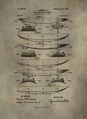 Canoe Mixed Media - Vintage Ship Hull Patent by Dan Sproul