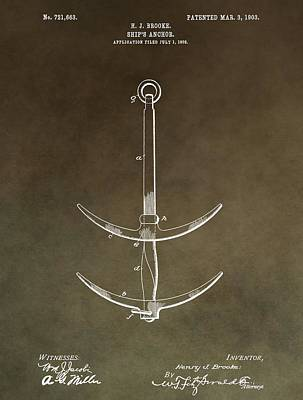 Stop Mixed Media - Vintage Ship's Anchor Patent by Dan Sproul